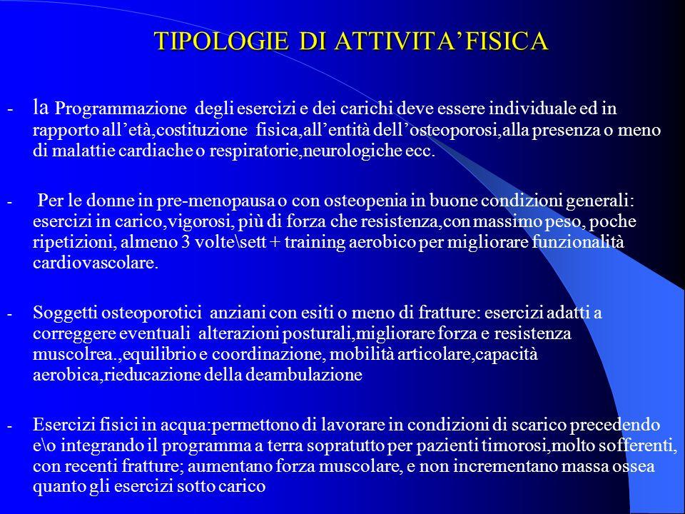 TIPOLOGIE DI ATTIVITA'FISICA