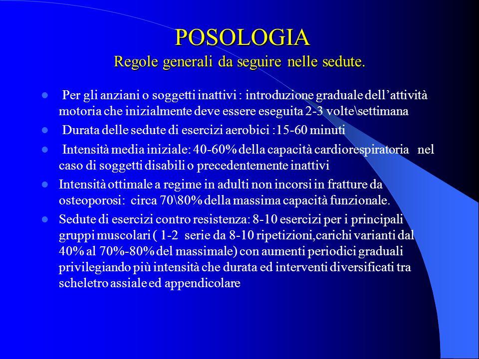 POSOLOGIA Regole generali da seguire nelle sedute.