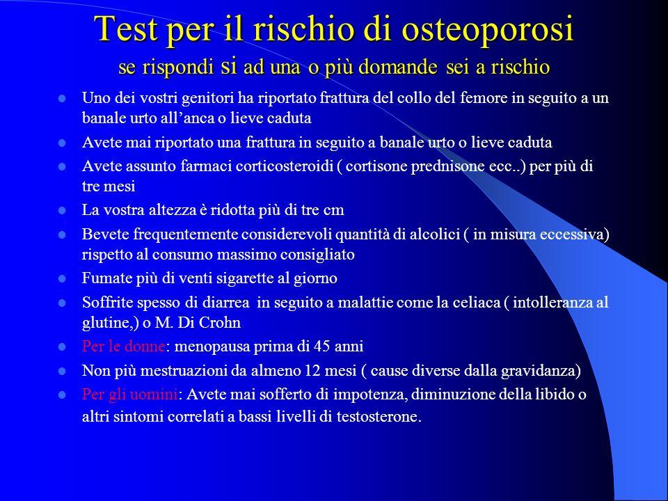 Test per il rischio di osteoporosi se rispondi si ad una o più domande sei a rischio