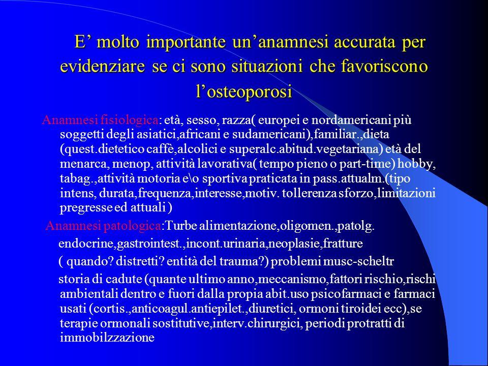 E' molto importante un'anamnesi accurata per evidenziare se ci sono situazioni che favoriscono l'osteoporosi
