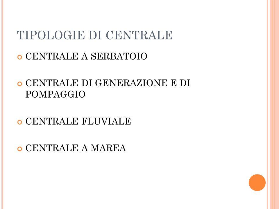TIPOLOGIE DI CENTRALE CENTRALE A SERBATOIO