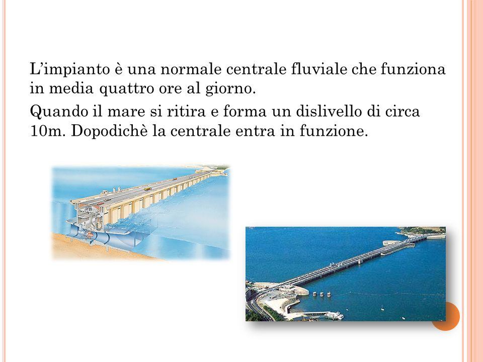 L'impianto è una normale centrale fluviale che funziona in media quattro ore al giorno.