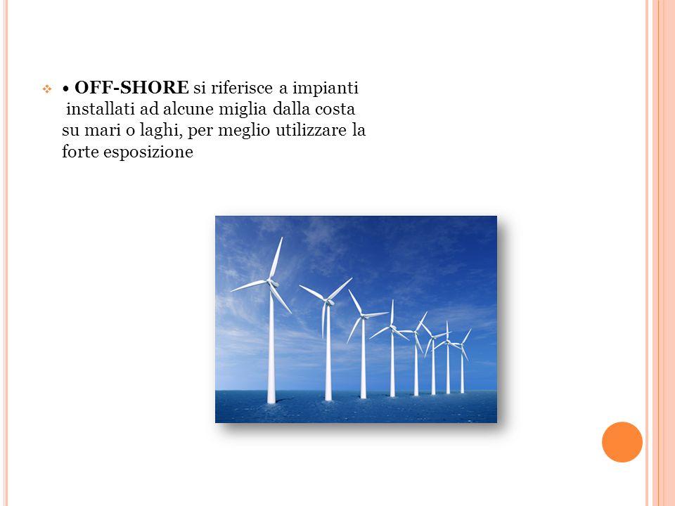 • OFF-SHORE si riferisce a impianti installati ad alcune miglia dalla costa su mari o laghi, per meglio utilizzare la forte esposizione
