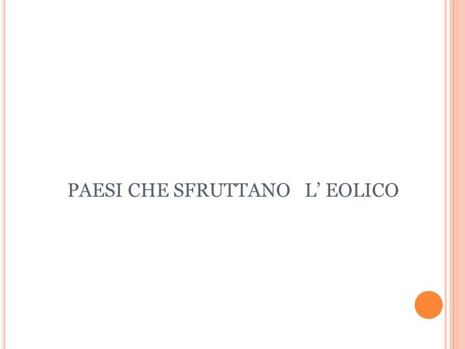 PAESI CHE SFRUTTANO L' EOLICO