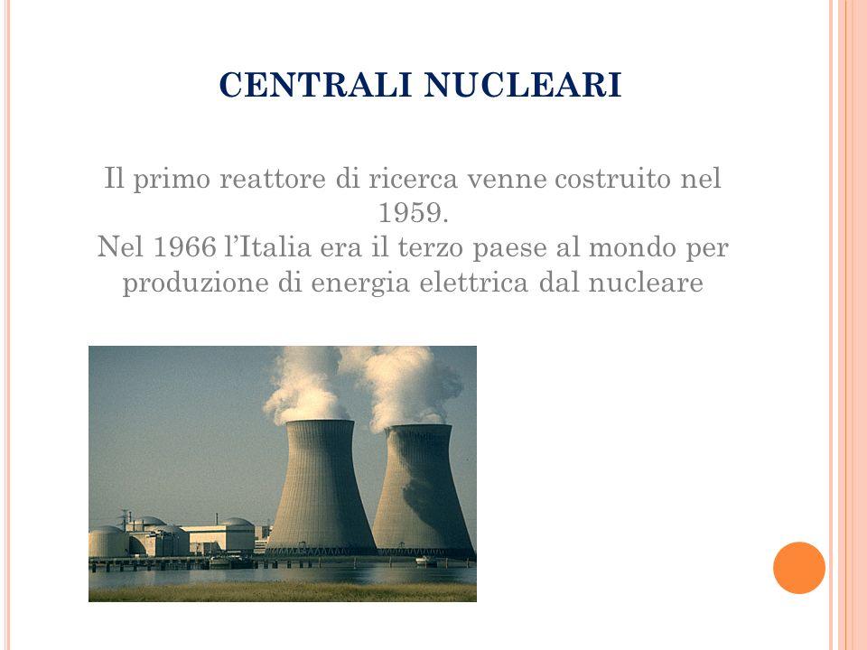 Il primo reattore di ricerca venne costruito nel 1959.
