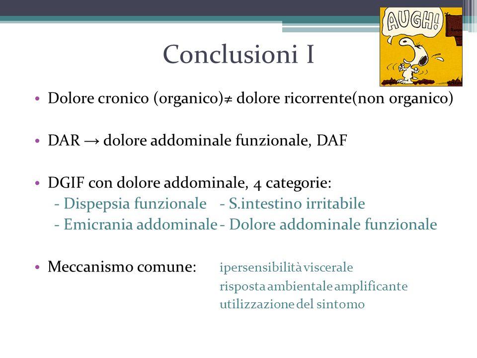 Conclusioni I Dolore cronico (organico)≠ dolore ricorrente(non organico) DAR → dolore addominale funzionale, DAF.