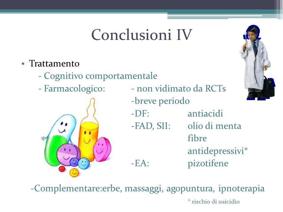 Conclusioni IV Trattamento - Cognitivo comportamentale