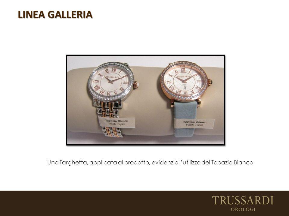 LINEA GALLERIA Una Targhetta, applicata al prodotto, evidenzia l'utilizzo del Topazio Bianco