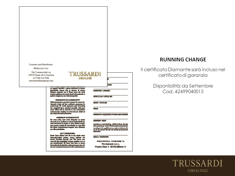 Il certificato Diamante sarà incluso nel certificato di garanzia