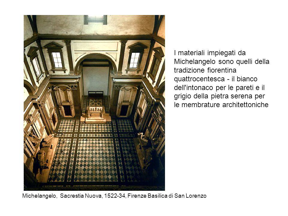 I materiali impiegati da Michelangelo sono quelli della tradizione fiorentina quattrocentesca - il bianco dell intonaco per le pareti e il grigio della pietra serena per le membrature architettoniche