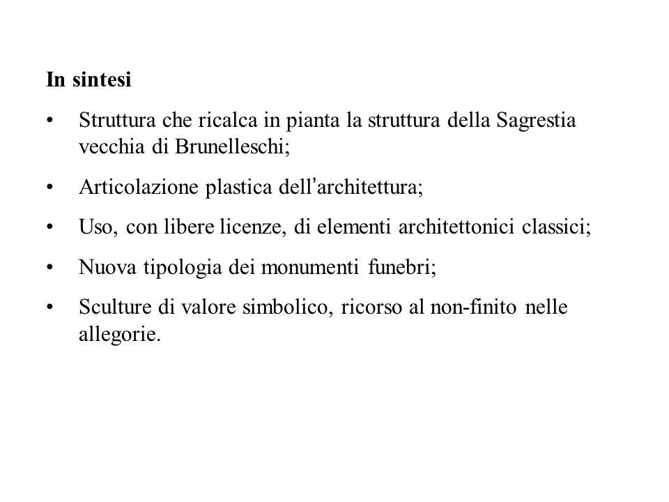 In sintesi Struttura che ricalca in pianta la struttura della Sagrestia vecchia di Brunelleschi; Articolazione plastica dell'architettura;