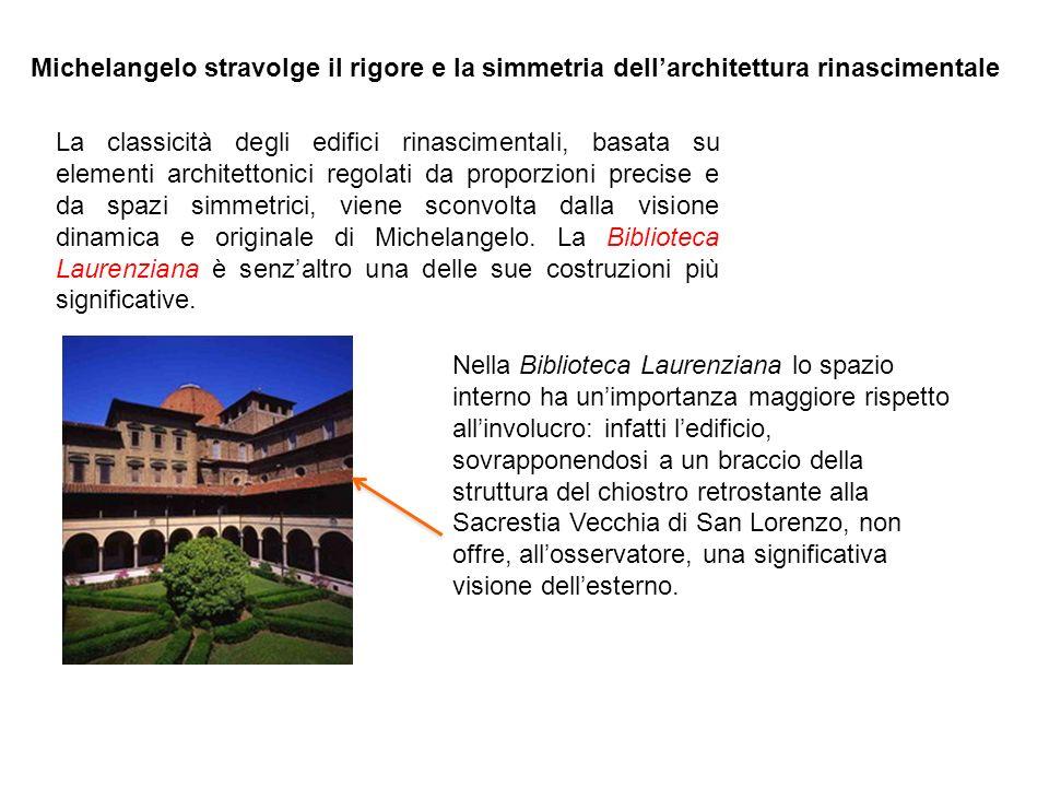 Michelangelo stravolge il rigore e la simmetria dell'architettura rinascimentale