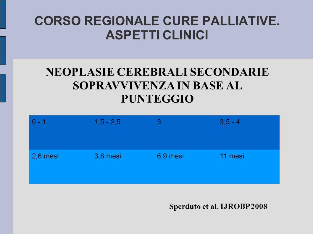 CORSO REGIONALE CURE PALLIATIVE. ASPETTI CLINICI