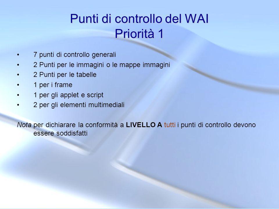 Punti di controllo del WAI Priorità 1