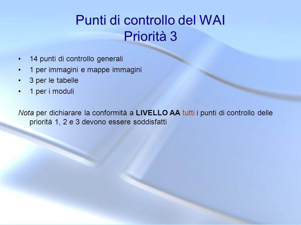 Punti di controllo del WAI Priorità 3