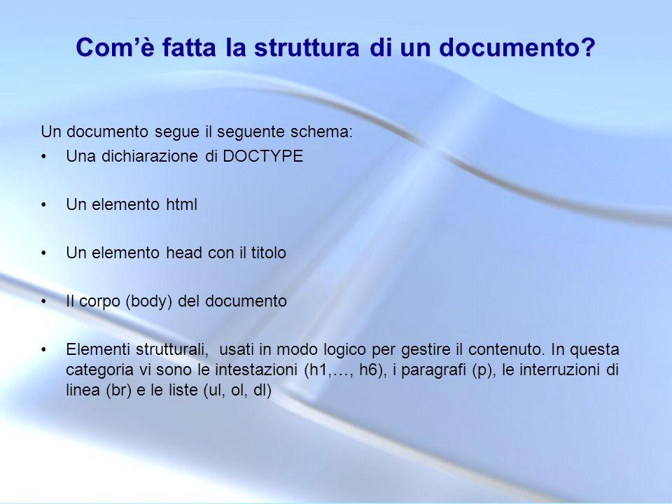 Com'è fatta la struttura di un documento