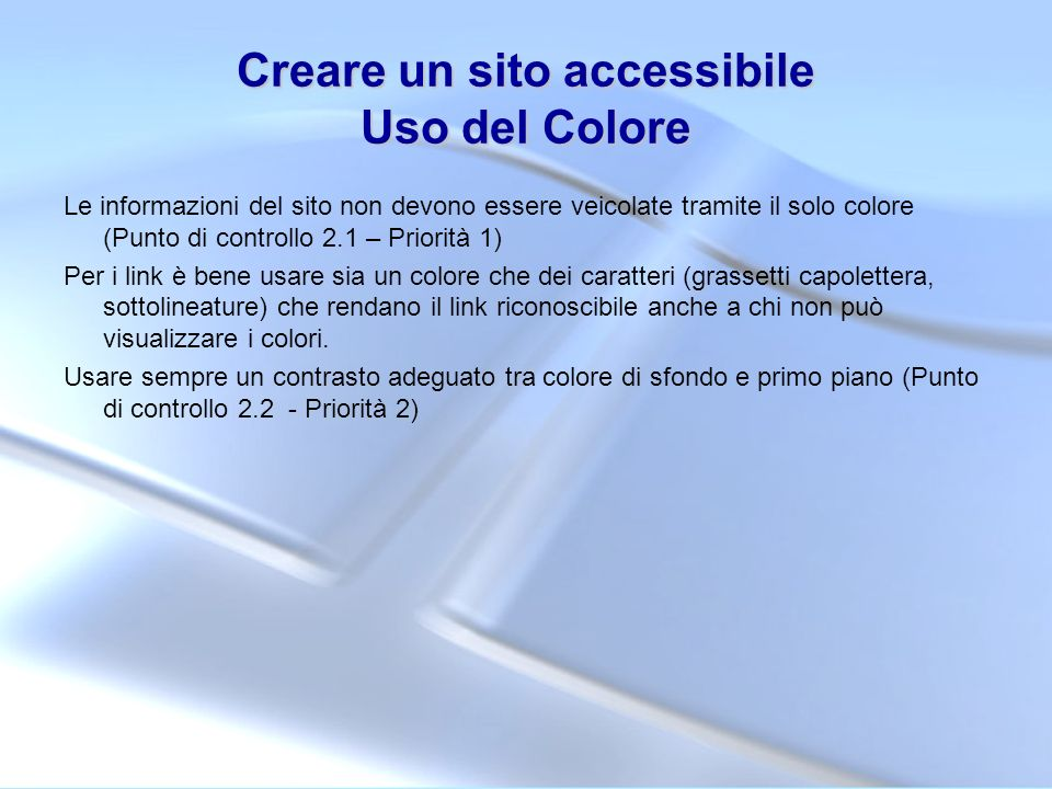 Creare un sito accessibile Uso del Colore