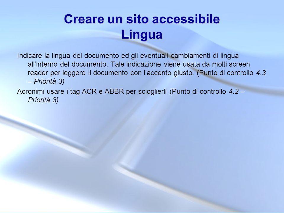 Creare un sito accessibile Lingua