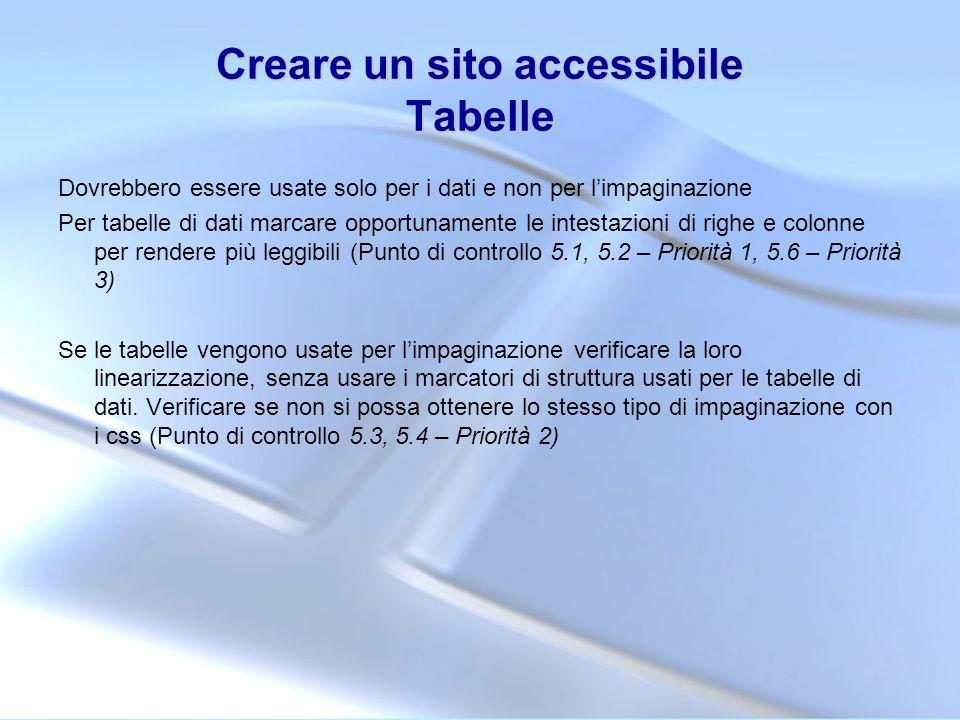 Creare un sito accessibile Tabelle