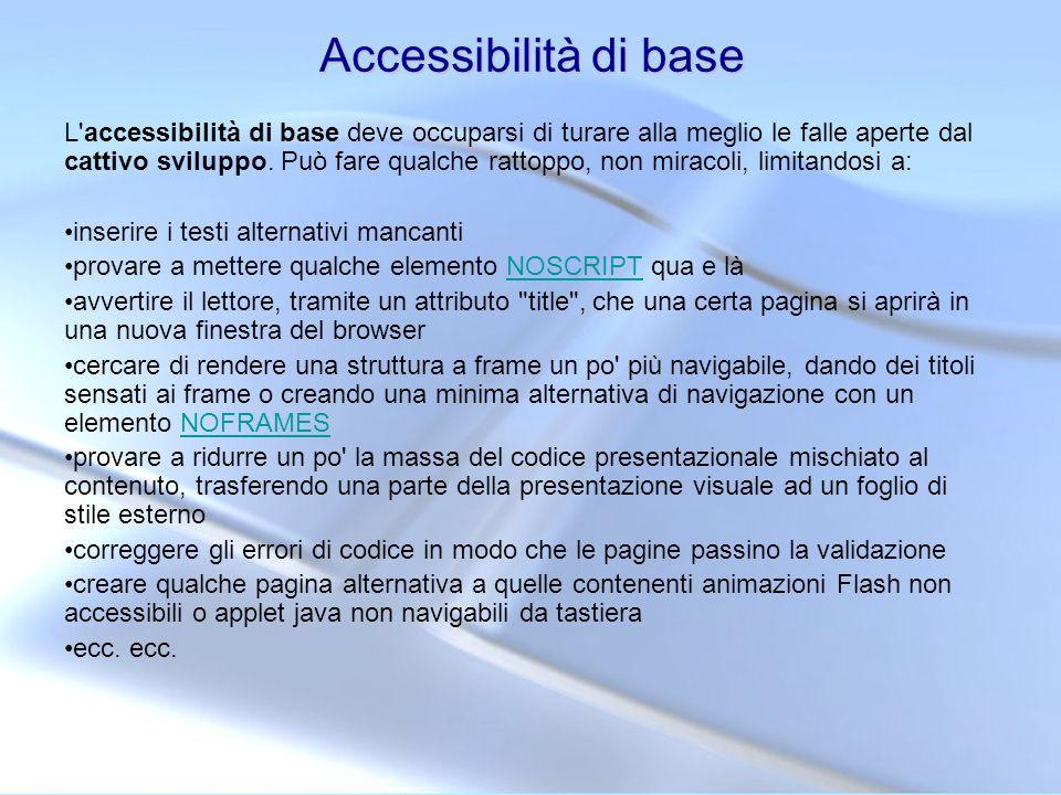Accessibilità di base