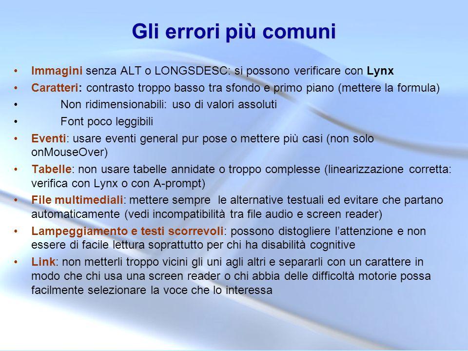 Gli errori più comuni Immagini senza ALT o LONGSDESC: si possono verificare con Lynx.