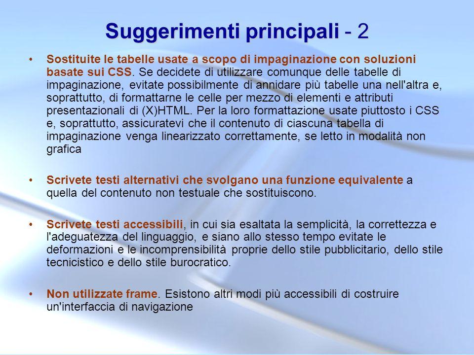 Suggerimenti principali - 2
