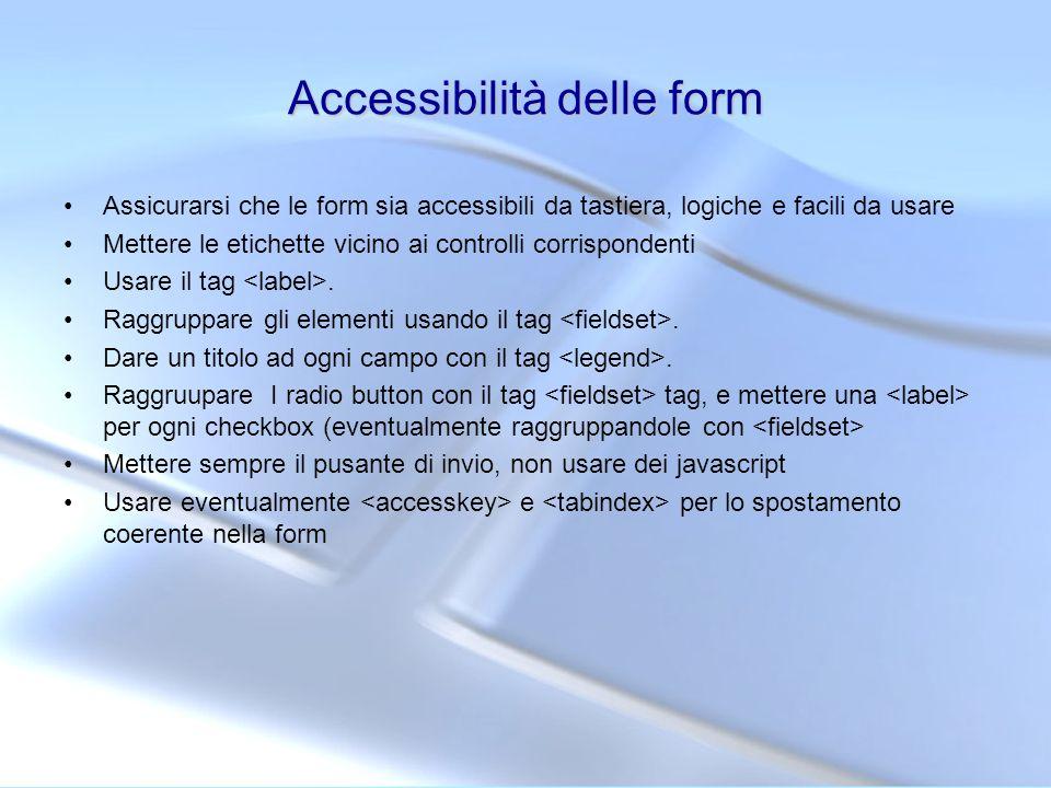 Accessibilità delle form