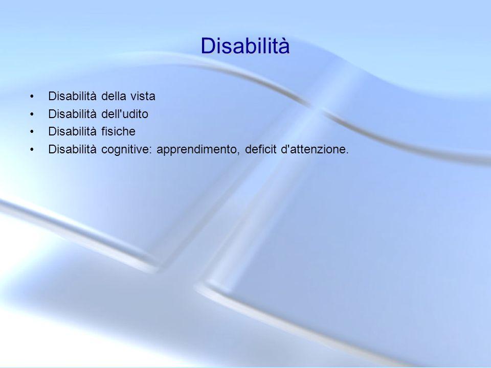 Disabilità Disabilità della vista Disabilità dell udito