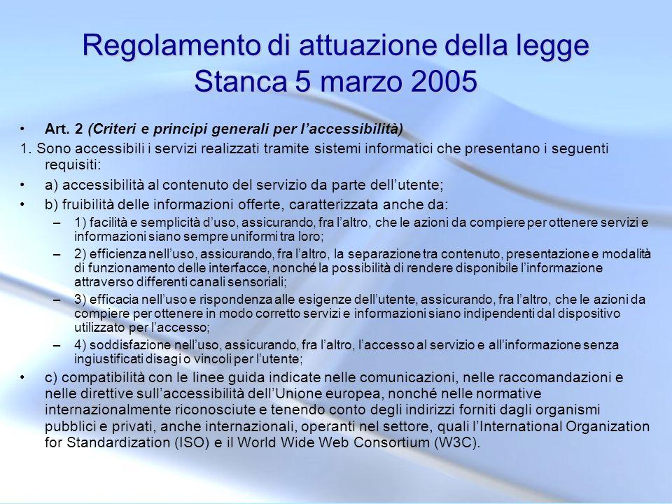 Regolamento di attuazione della legge Stanca 5 marzo 2005