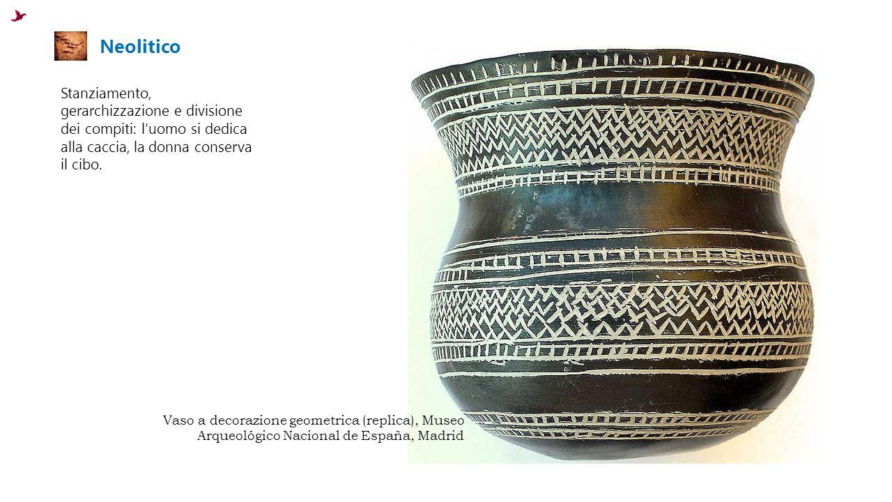 Neolitico Stanziamento, gerarchizzazione e divisione dei compiti: l'uomo si dedica alla caccia, la donna conserva il cibo.