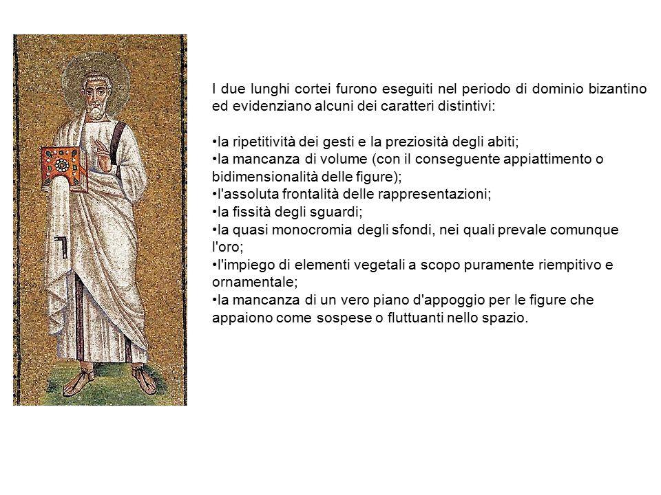 I due lunghi cortei furono eseguiti nel periodo di dominio bizantino ed evidenziano alcuni dei caratteri distintivi: