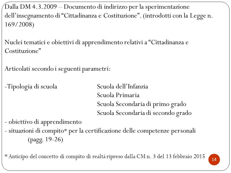 Articolati secondo i seguenti parametri: