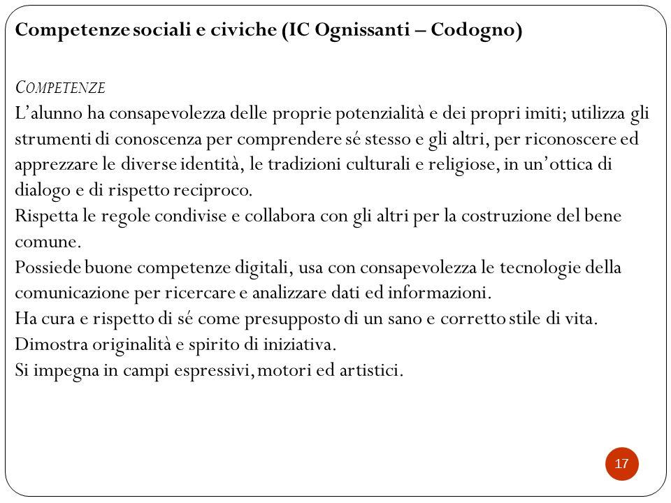 Competenze sociali e civiche (IC Ognissanti – Codogno) Competenze