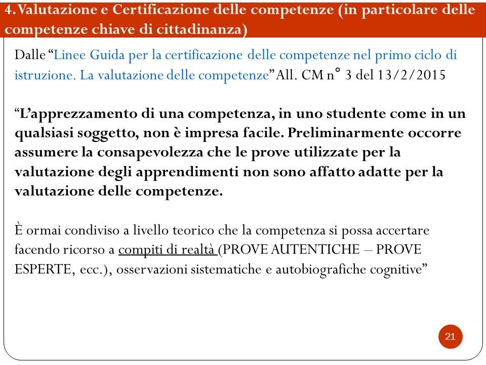4. Valutazione e Certificazione delle competenze (in particolare delle competenze chiave di cittadinanza)