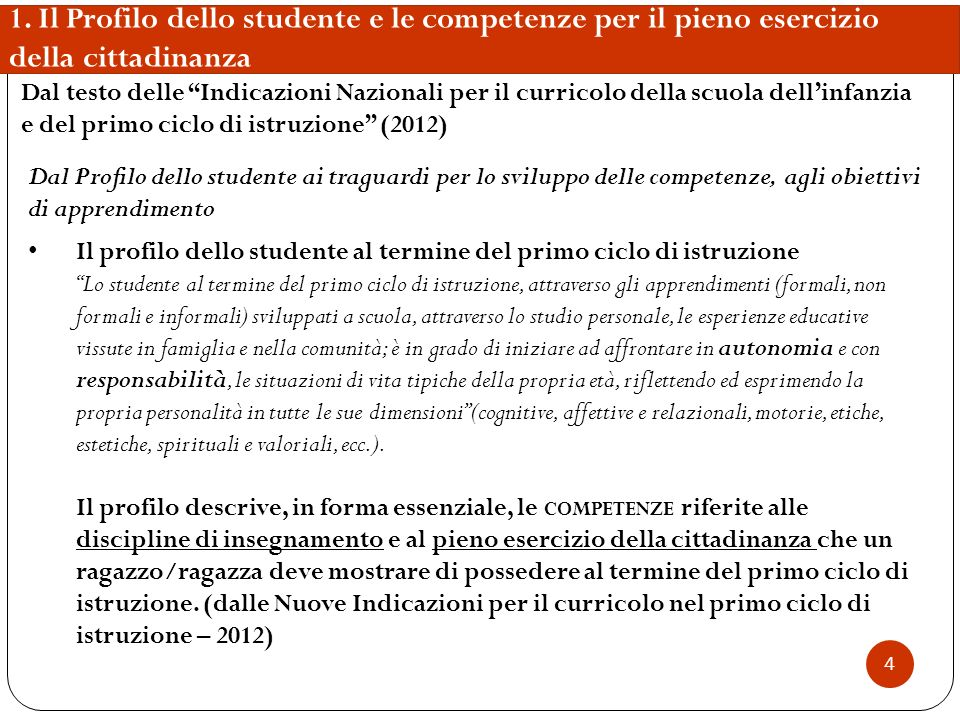 1. Il Profilo dello studente e le competenze per il pieno esercizio della cittadinanza