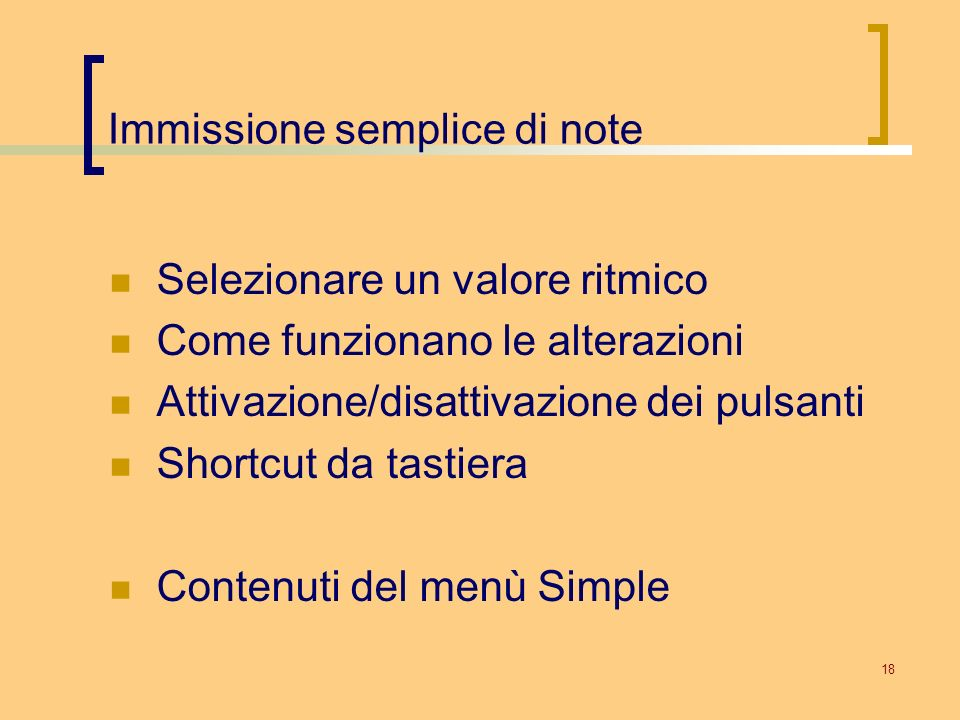Immissione semplice di note