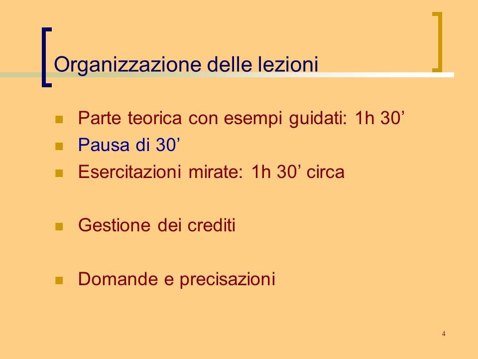 Organizzazione delle lezioni