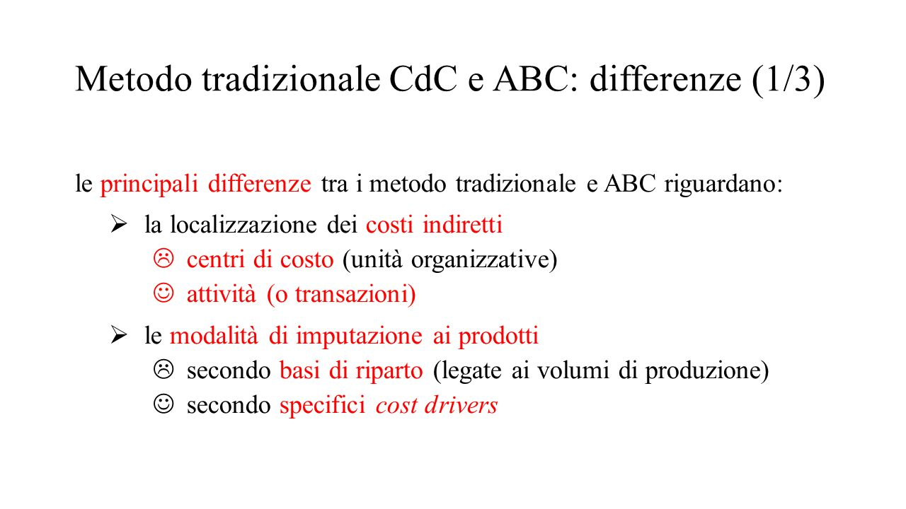 Metodo tradizionale CdC e ABC: differenze (1/3)