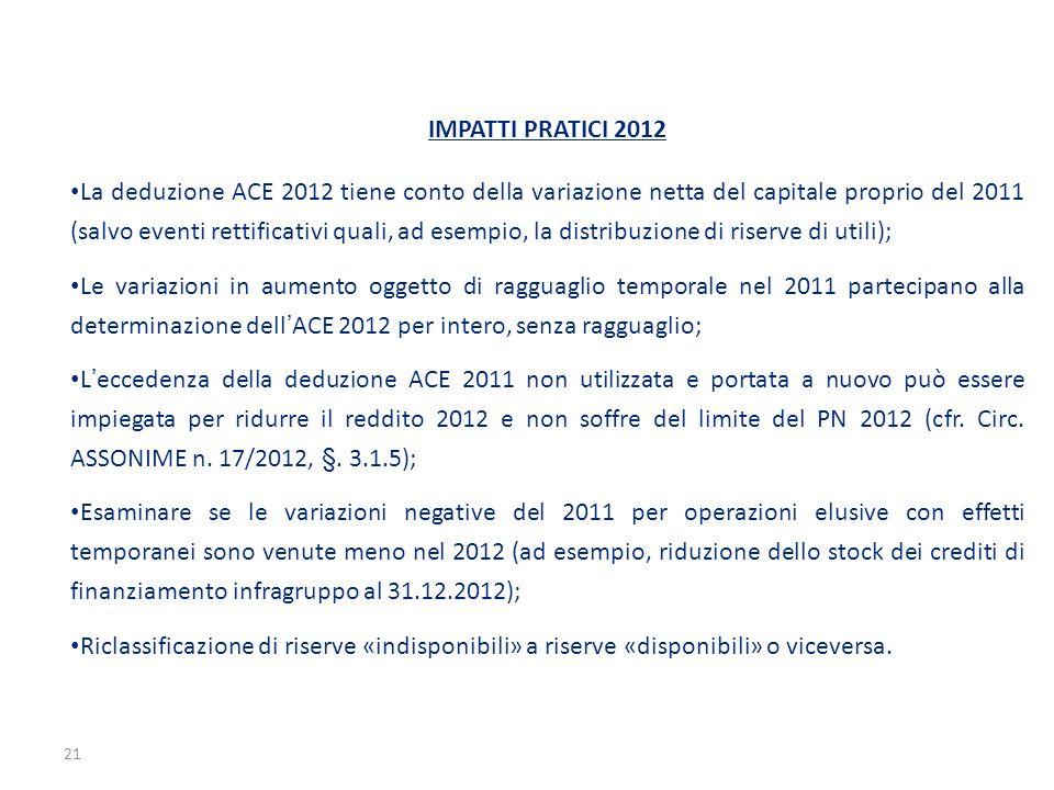 IMPATTI PRATICI 2012