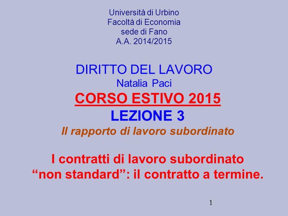 CORSO ESTIVO 2015 LEZIONE 3 I contratti di lavoro subordinato
