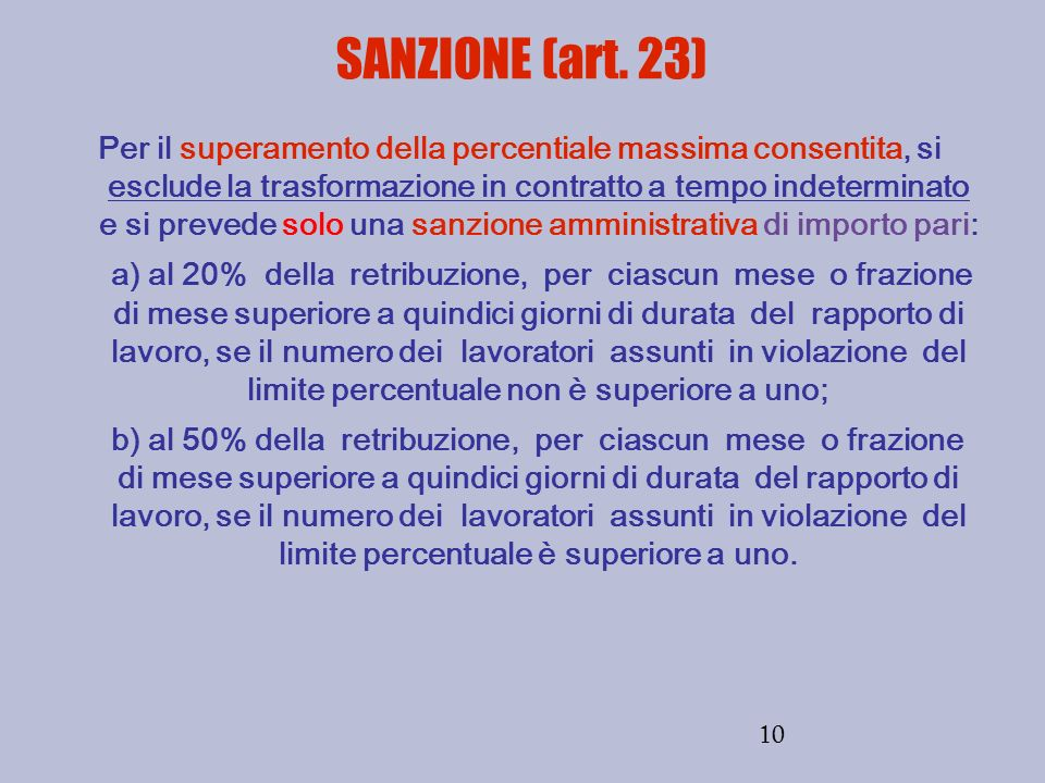 SANZIONE (art. 23)