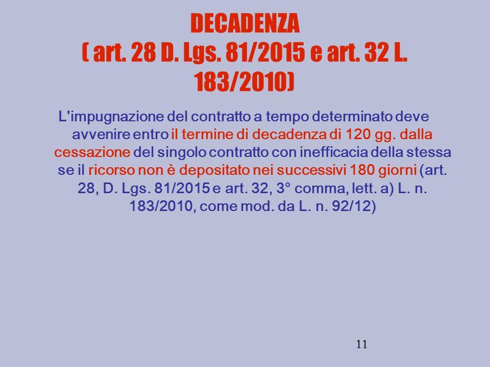 DECADENZA ( art. 28 D. Lgs. 81/2015 e art. 32 L. 183/2010)