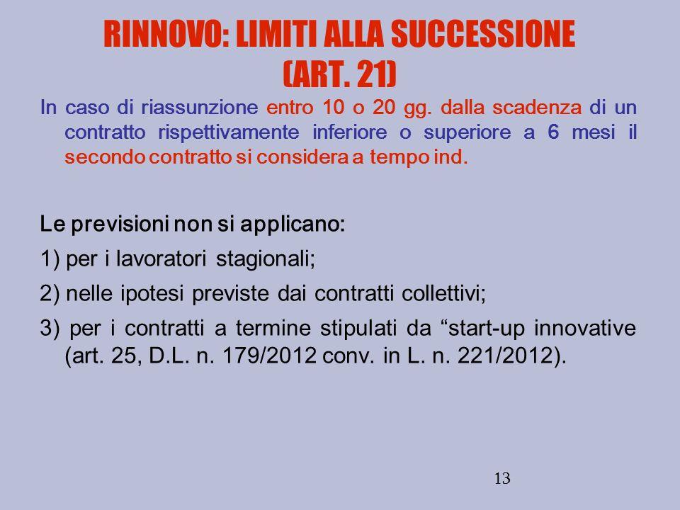 RINNOVO: LIMITI ALLA SUCCESSIONE (ART. 21)