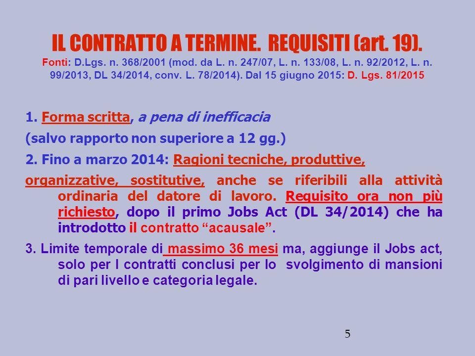 IL CONTRATTO A TERMINE. REQUISITI (art. 19). Fonti: D. Lgs. n