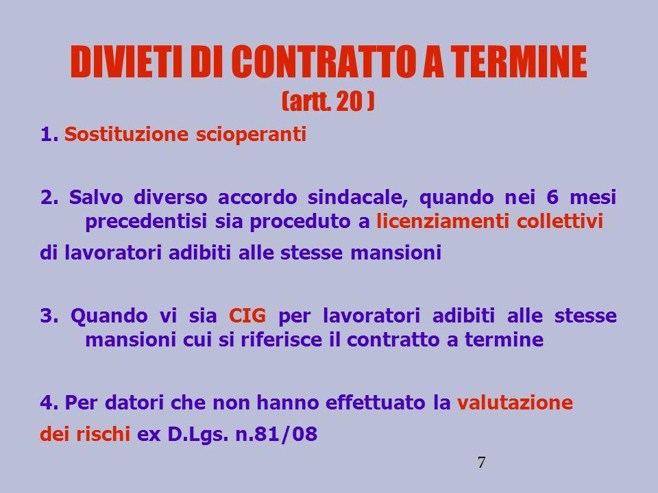 DIVIETI DI CONTRATTO A TERMINE (artt. 20 )