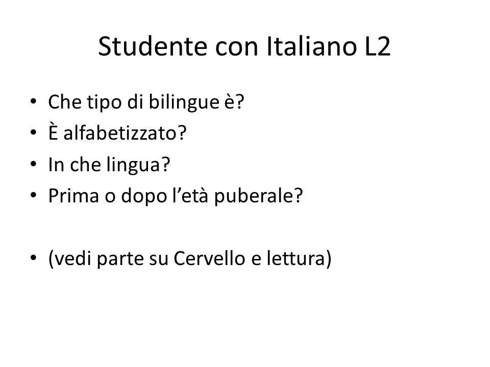 Studente con Italiano L2