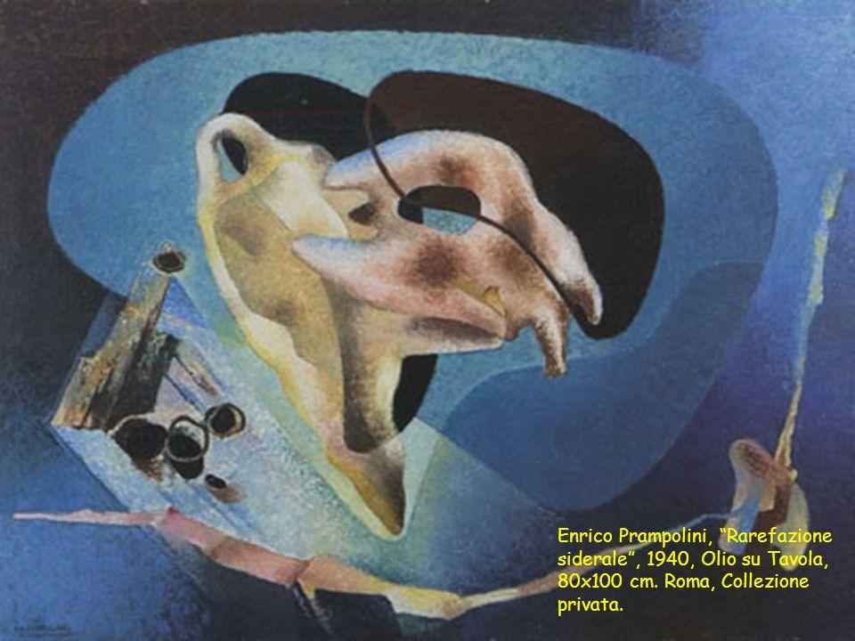 Enrico Prampolini, Rarefazione siderale , 1940, Olio su Tavola, 80x100 cm.
