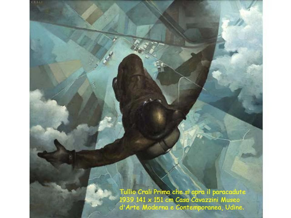 Tullio Crali Prima che si apra il paracadute 1939 141 x 151 cm Casa Cavazzini Museo d Arte Moderna e Contemporanea, Udine.