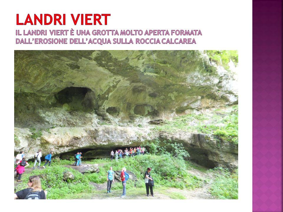 Landri viert il landri viert è una grotta molto aperta formata dall'erosione dell'acqua sulla roccia CALCAREA