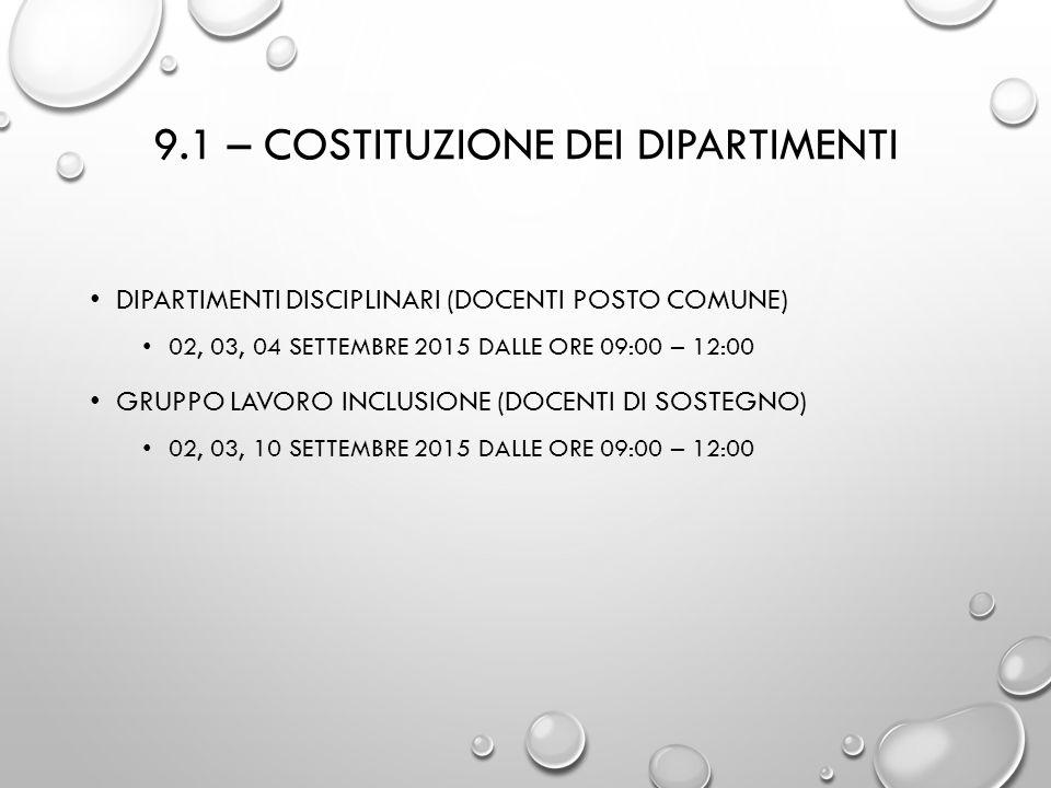 9.1 – costituzione dei dipartimenti